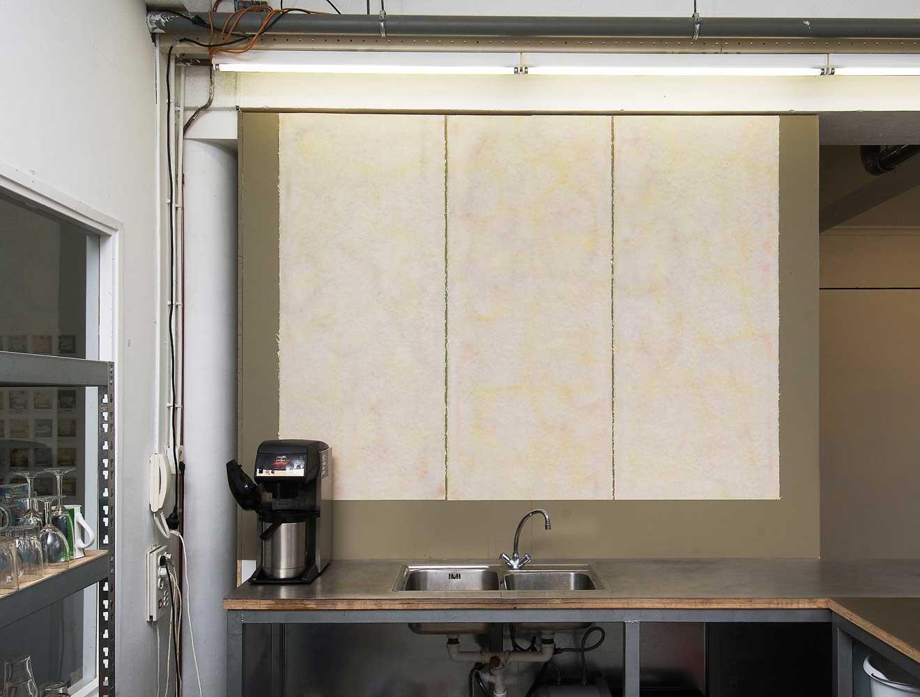 ZT (wandwerk 6-2011) Nest, Den Haag. Geschept papier, aquarel, lijm. 180x250 cm. (hxb)